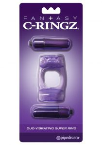 Fantasy C-Ringz Duo-Vibrating Super Ring With Clitoral Stimulation Waterproof Purple