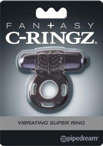 Fantasy C-Ringz Vibrating Super Ring Textured Cockring Waterproof Black 2.32 Inch Diameter