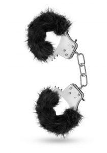 Temptasia Plush Fur Cuffs Adjustable Furry Hand Cuffs Stainless Steel With Keys Black