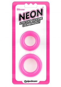 Neon Stretchy Silicone Cock Ring Set Pink 2 Each Per Set