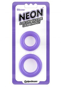 Neon Stretchy Silicone Cock Ring Set Purple 2 Each Per Set