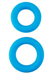 Neon Stretchy Silicone Cock Ring Set Blue 2 Each Per Set