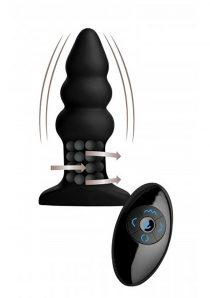 Rimmers Model I Silicone Rippled Rimming Plug With Wireless Remote Control Waterproof Black 5.5 Inch