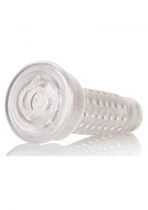 Optimum Series Stroker Pump Sleeve Textured Pussy Clear 6.25 Inch