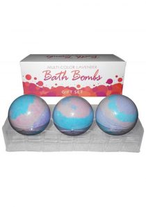 Multi Color Lavender Bath Bombs Gift Set 3 Each Per Box