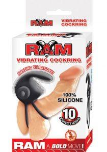 Ram Silicone Vibrating Cockring Waterproof Black