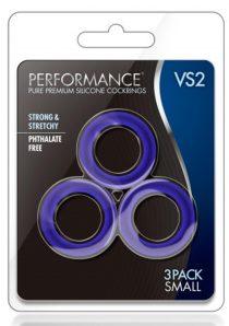 Performance VS2 Pure Premium Silicone Waterproof Cockring Small 3 Piece Set Indigo