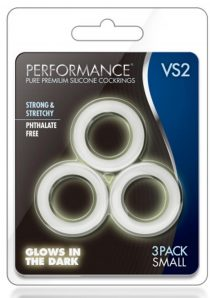 Performance VS2 Pure Premium Silicone Waterproof Cockring Small 3 Piece Set Glow In The Dark