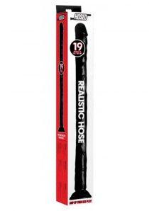 Hosed Realistic Hose Textured Bendable Dildo Waterproof Black 19 Inch