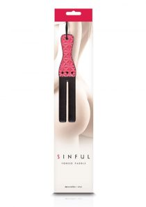 Sinful Vinyl Forked Paddle Pink And Black 12.8 Inch
