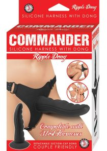 Commander Silicone Harness With Ripple Dong Black 5.5 Inch