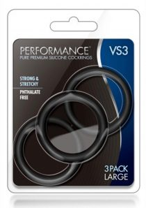 Performance VS3 Silicone Cock Ring Black Large 3 Pack