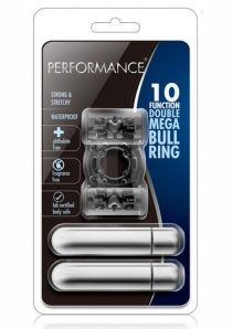 Performance 10 Function Double Mega Bull Ring Cock Ring Waterproof Black