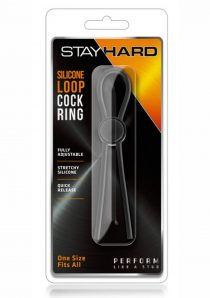 Stay Hard Silicone Loop Cock Ring Black Adjustable