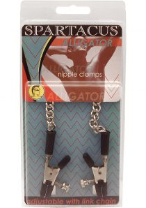 Adjustable Aliigator Nipple Clamps With Link Chain Silver
