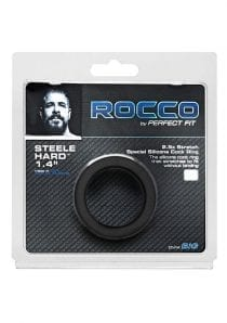 Rocco Steele Hard Silicone Cockring Black 1.4 Inches Inner Diameter