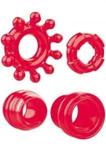 Zero Tolerance Ring the Alarm Cockring Set of 4 Rubber Waterproof Red