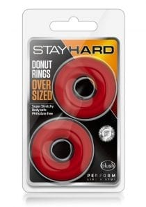 Stay Hard Donut Rings Oversized Cockring Non Vibrating Red